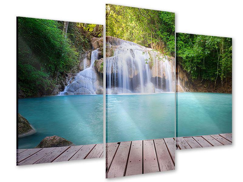 Acrylglasbild 3-teilig modern Terrasse am Wasserfall