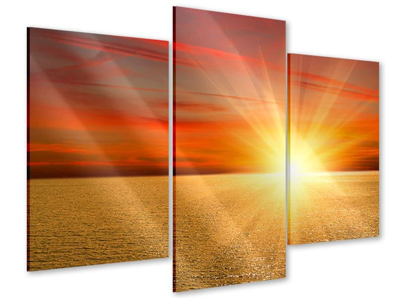Acrylglasbild 3-teilig modern Der Sonnenuntergang
