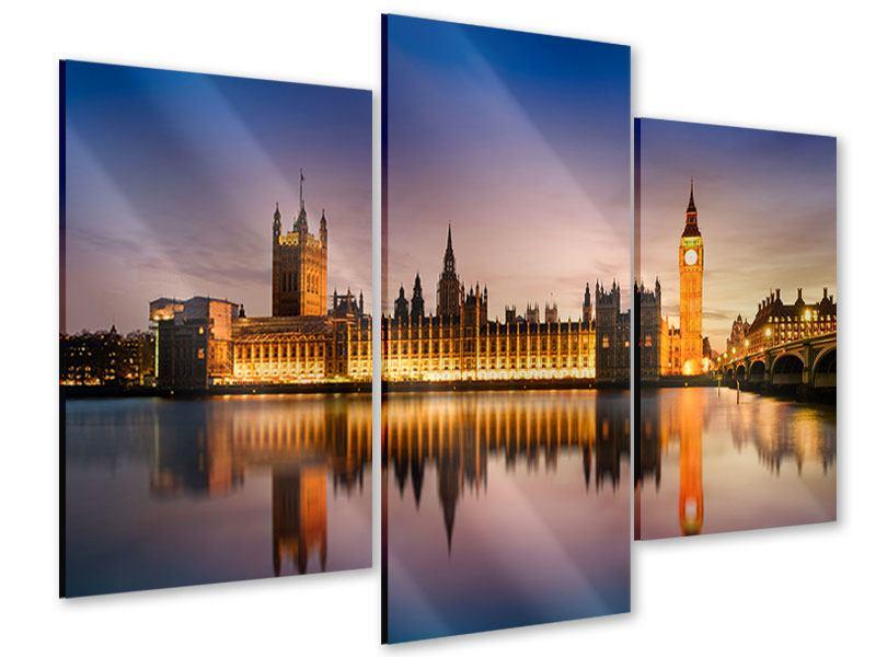 Acrylglasbild 3-teilig modern Big Ben in der Nacht