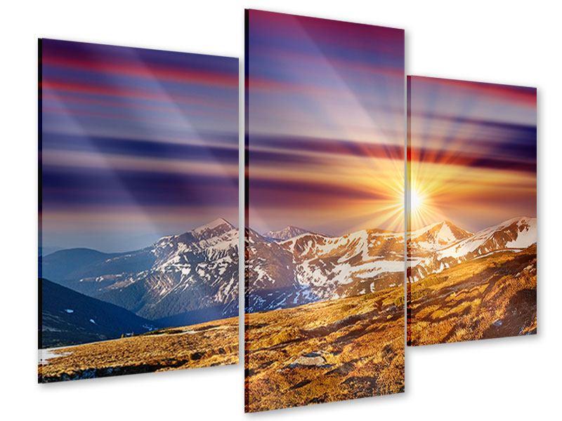 Acrylglasbild 3-teilig modern Majestätischer Sonnuntergang am Berggipfel