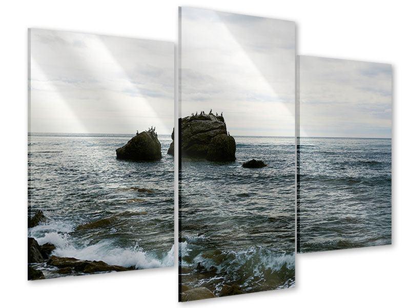 Acrylglasbild 3-teilig modern Leise Wellen