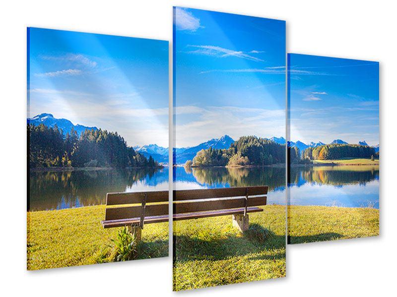 Acrylglasbild 3-teilig modern Sitzbank mit Bergpanorama