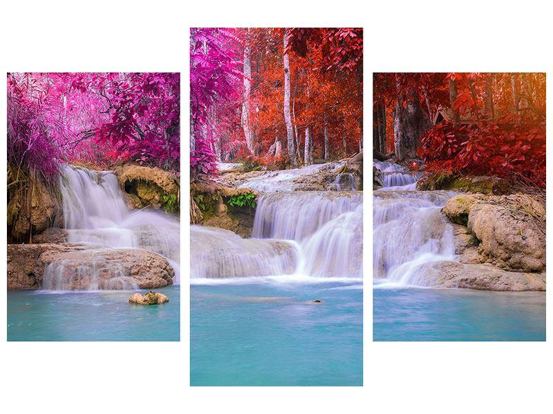 Acrylglasbild 3-teilig modern Paradiesischer Wasserfall