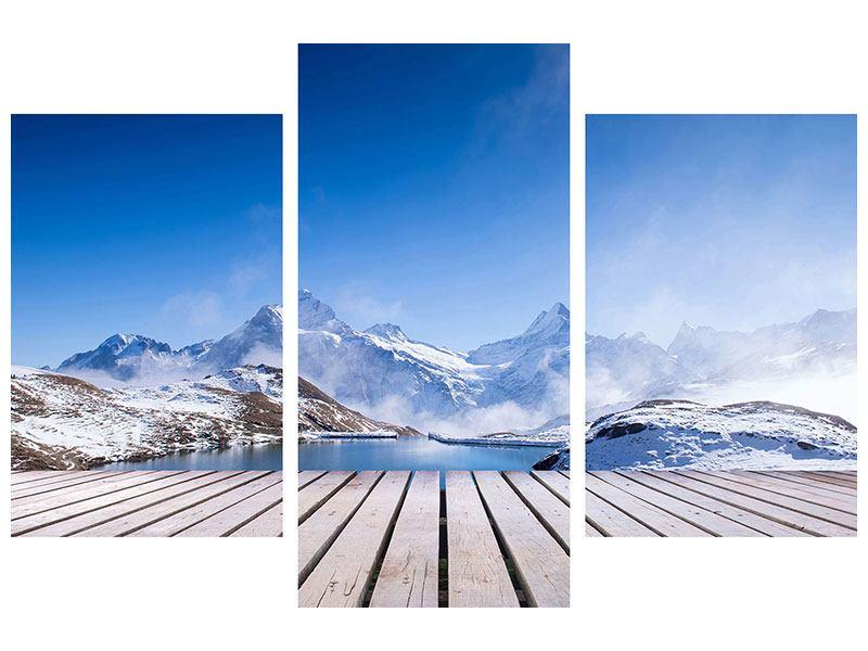 Acrylglasbild 3-teilig modern Sonnenterrasse am Schweizer Bergsee