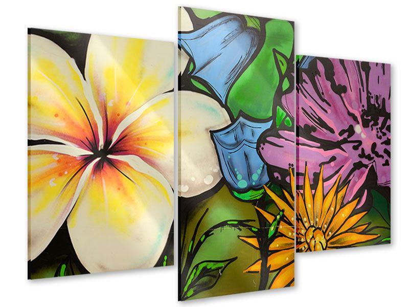 Acrylglasbild 3-teilig modern Graffiti Flowers