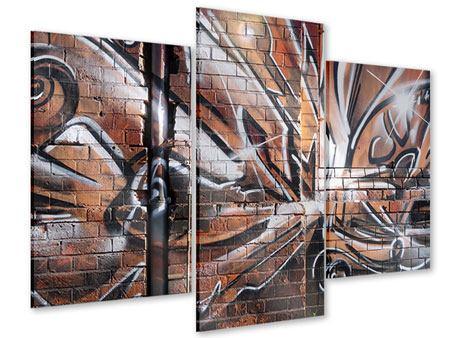 Acrylglasbild 3-teilig modern Graffiti Mauer