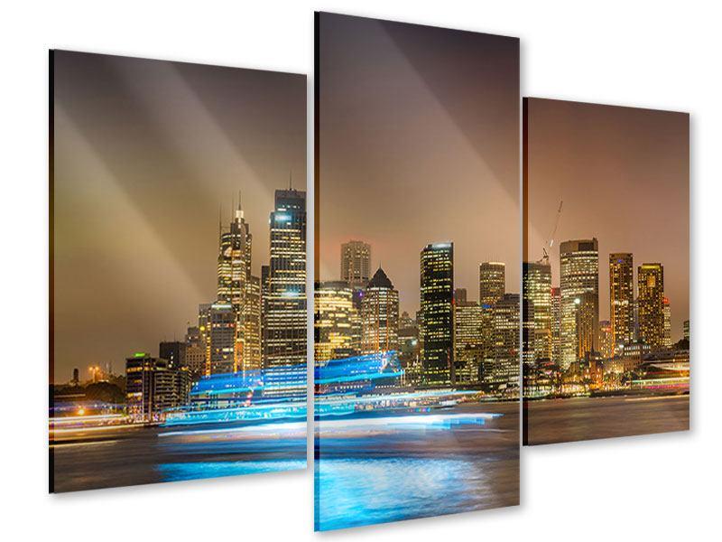 Acrylglasbild 3-teilig modern Skyline Sydney im Lichtermeer
