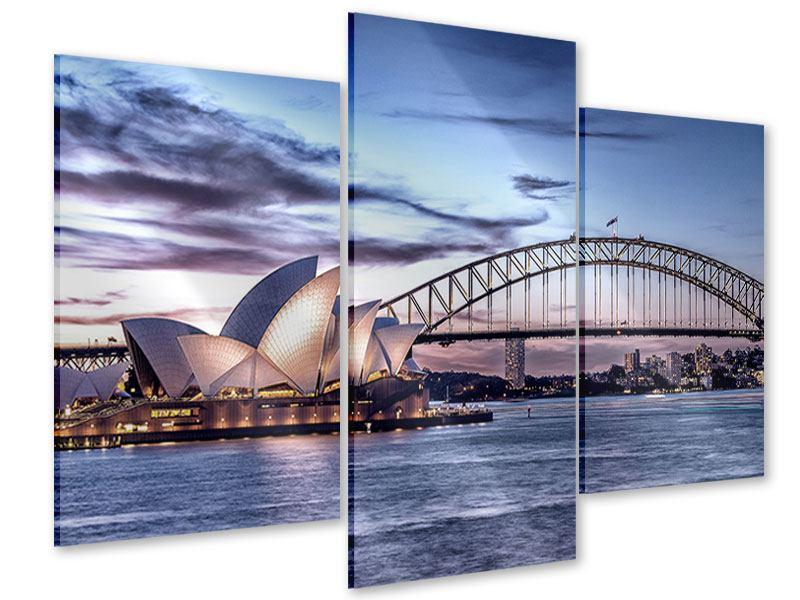 Acrylglasbild 3-teilig modern Skyline Sydney Opera House