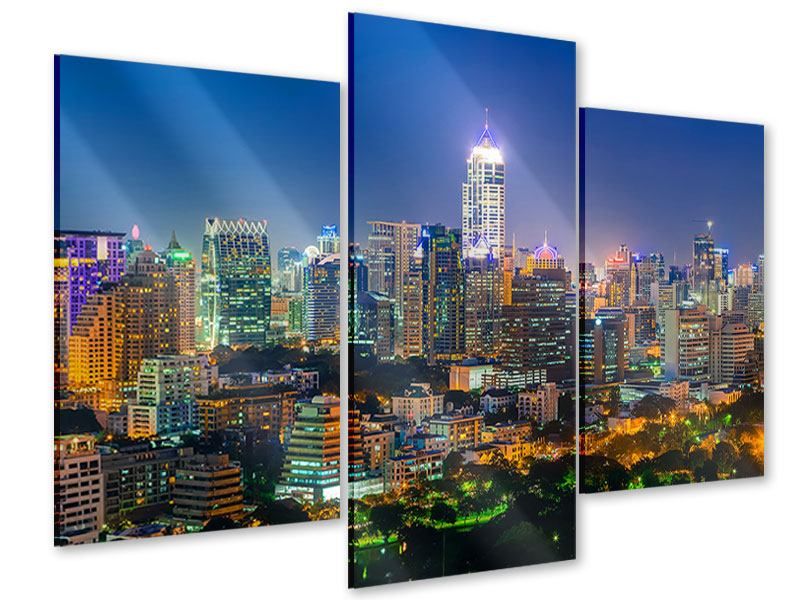 Acrylglasbild 3-teilig modern Skyline One Night in Bangkok