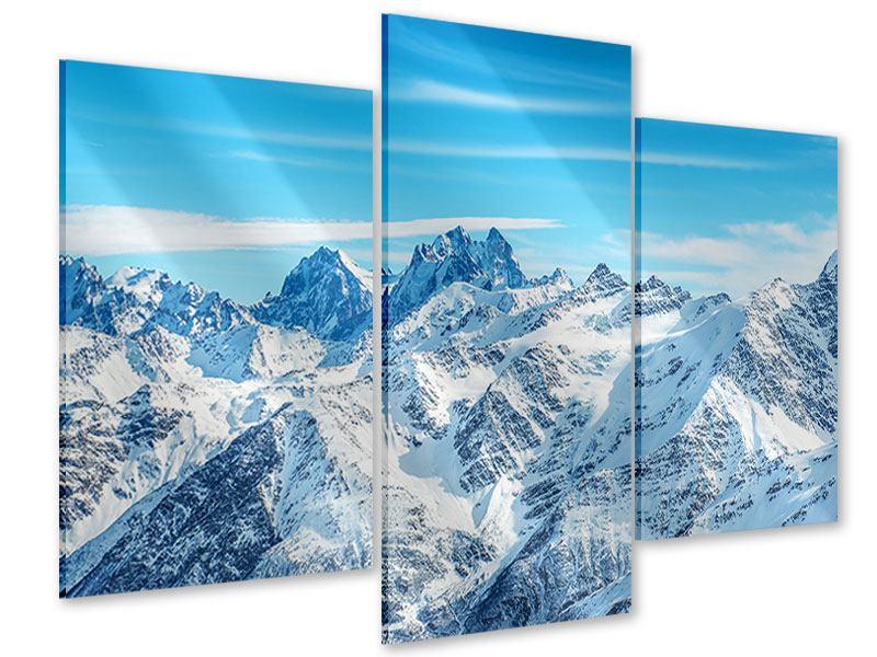 Acrylglasbild 3-teilig modern Alpenpanorama