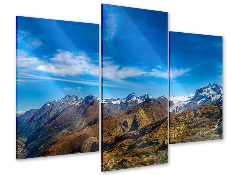 Acrylglasbild 3-teilig modern Schweizer Alpen im Frühling