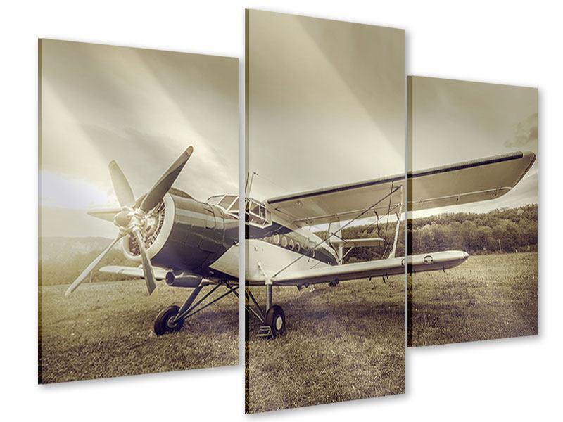 Acrylglasbild 3-teilig modern Nostalgisches Flugzeug im Retrostyle