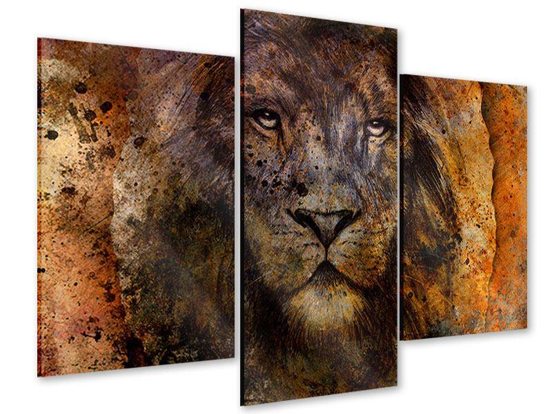 Acrylglasbild 3-teilig modern Portrait eines Löwen