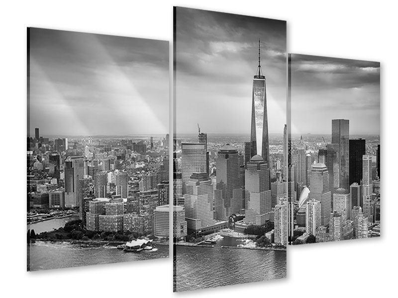 Acrylglasbild 3-teilig modern Skyline Schwarzweissfotografie New York