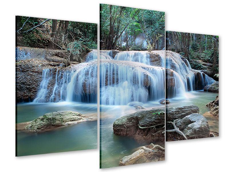 Acrylglasbild 3-teilig modern Ein Wasserfall