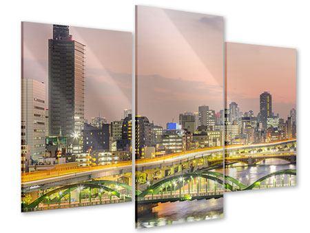 Acrylglasbild 3-teilig modern Skyline Das Lichtermeer von Tokio