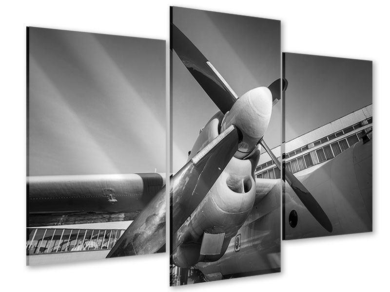 Acrylglasbild 3-teilig modern Nostalgisches Flugzeug
