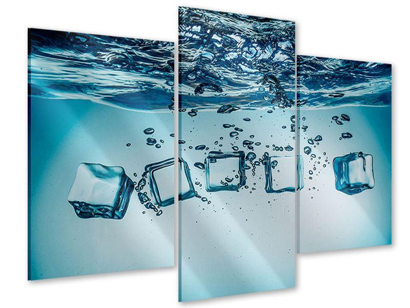 Acrylglasbild 3-teilig modern Eiswürfel-Quadro