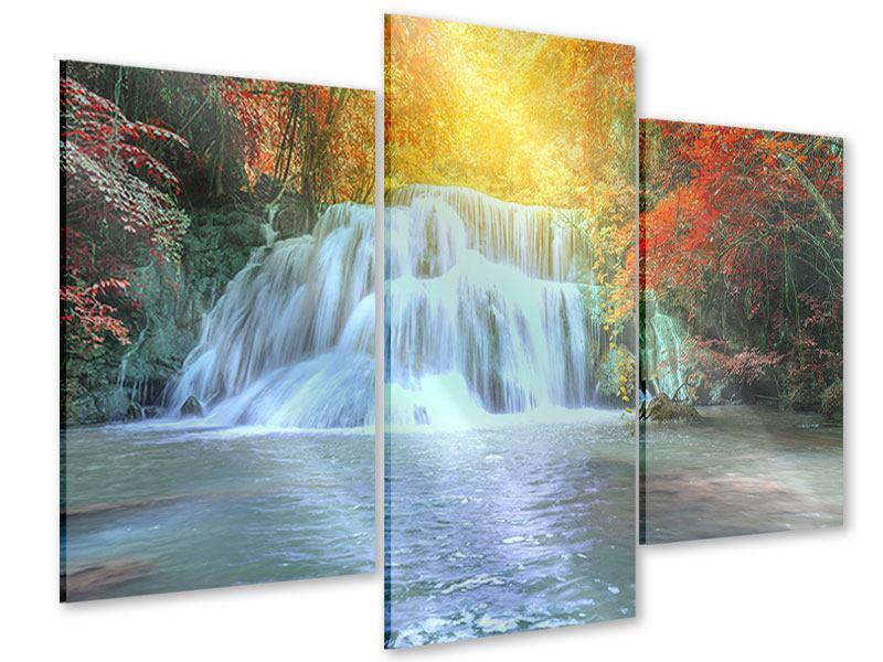 Acrylglasbild 3-teilig modern Wasserfall im Licht