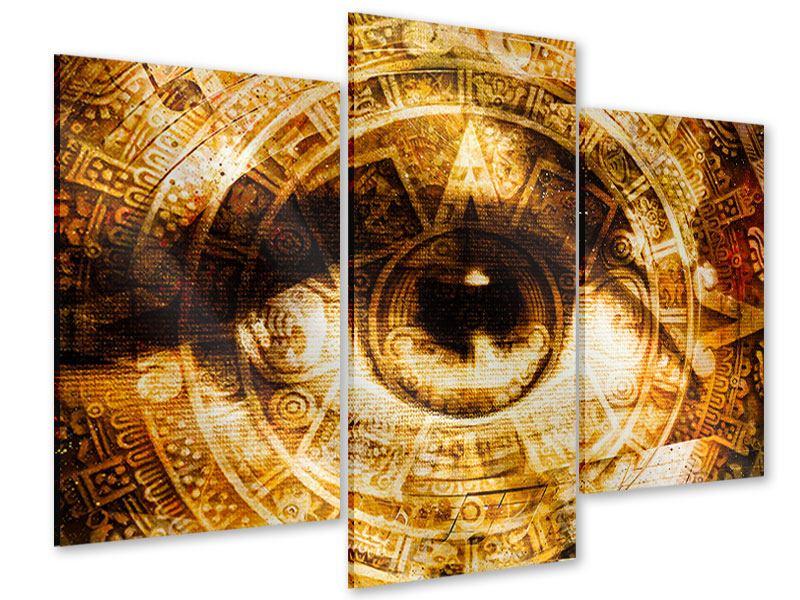 Acrylglasbild 3-teilig modern Fraktales Auge