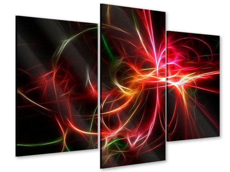 Acrylglasbild 3-teilig modern Fraktales Lichtspektakel