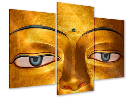 Acrylglasbild 3-teilig modern Die Augen eines Buddhas