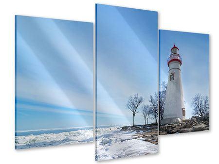 Acrylglasbild 3-teilig modern Leuchtturm im Schnee