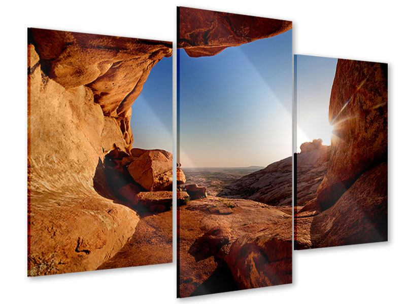 Acrylglasbild 3-teilig modern Sonnenuntergang vor der Höhle