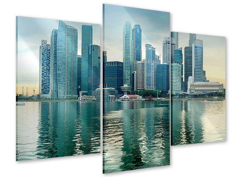 Acrylglasbild 3-teilig modern Skyline Sonnenaufgang in Singapur