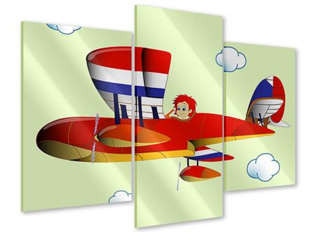 Acrylglasbild 3-teilig modern Der fliegende Junge