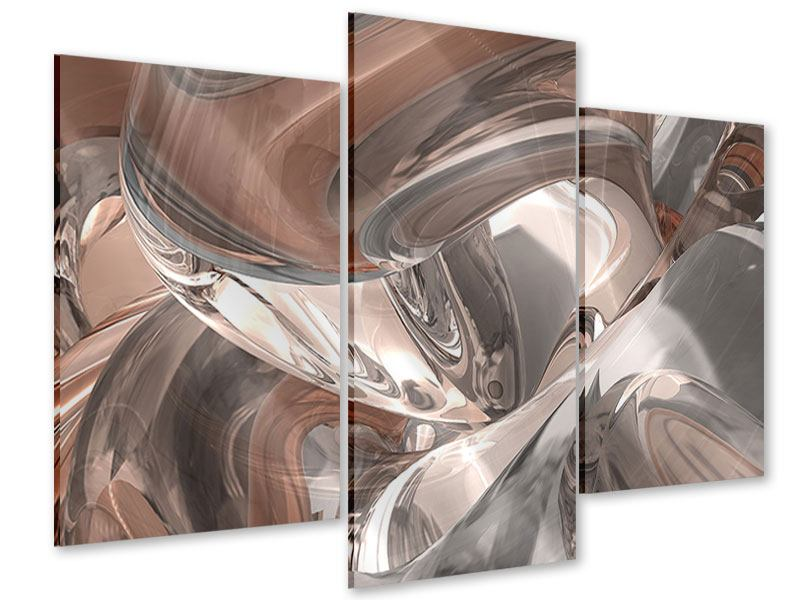 Acrylglasbild 3-teilig modern Abstraktes Glasfliessen