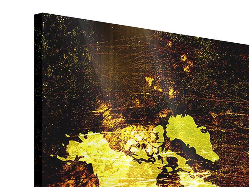 Acrylglasbild 3-teilig modern Retro-Weltkarte