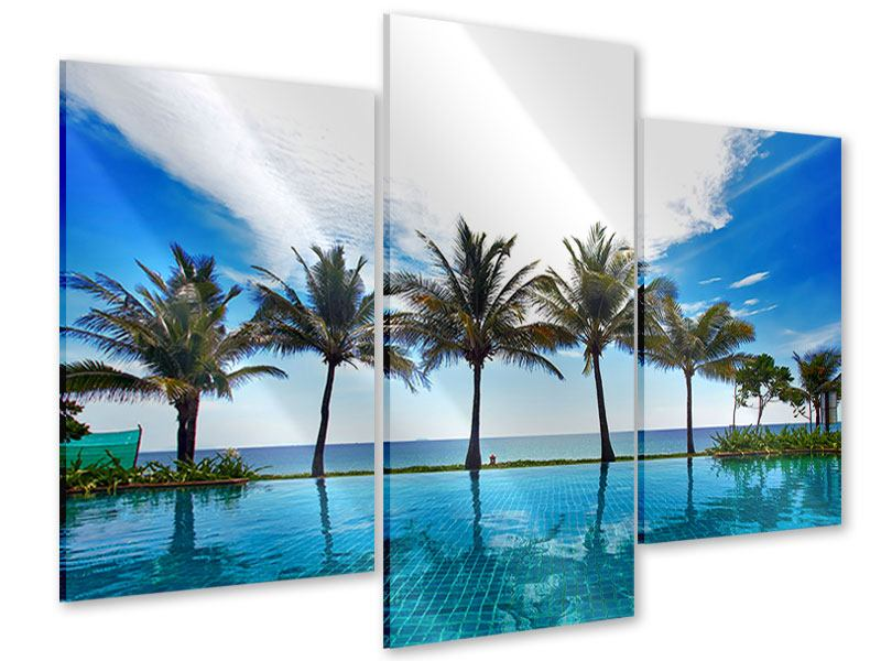Acrylglasbild 3-teilig modern Strandvilla