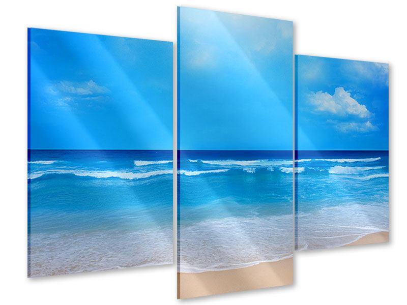 Acrylglasbild 3-teilig modern Sanfte Strandwellen