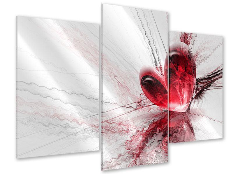 Acrylglasbild 3-teilig modern Herzspiegelung
