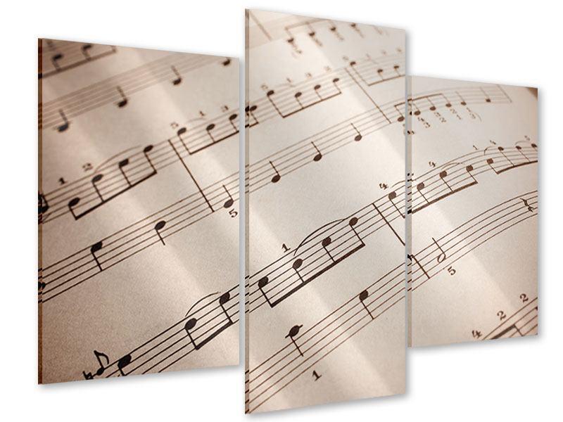 Acrylglasbild 3-teilig modern Das Notenblatt