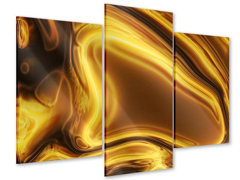 Acrylglasbild 3-teilig modern Abstrakt Flüssiges Gold