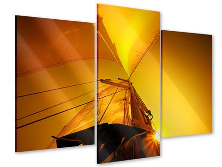 Acrylglasbild 3-teilig modern Segelboot im Sonnenuntergang