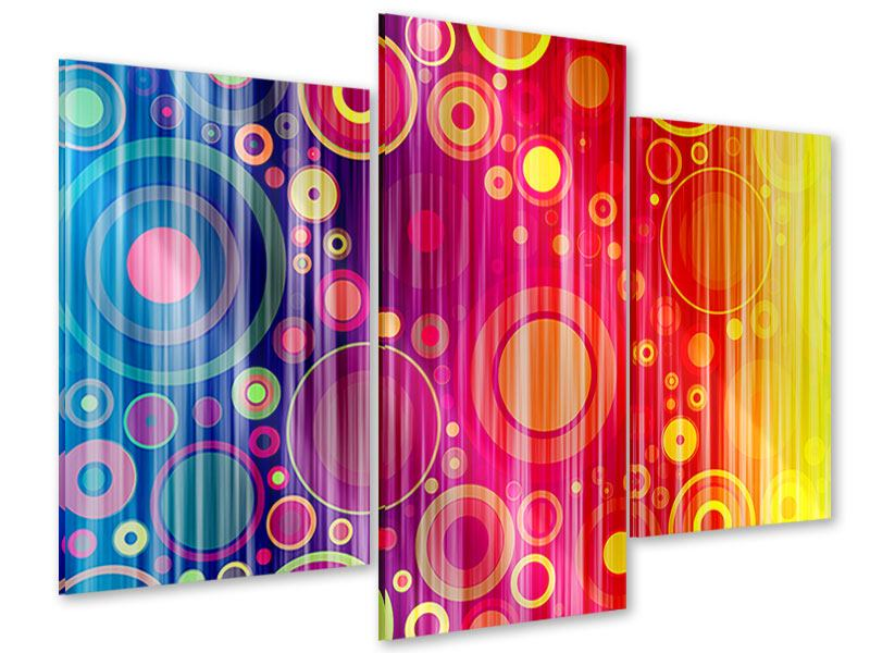 Acrylglasbild 3-teilig modern Grunge-Retrokreise