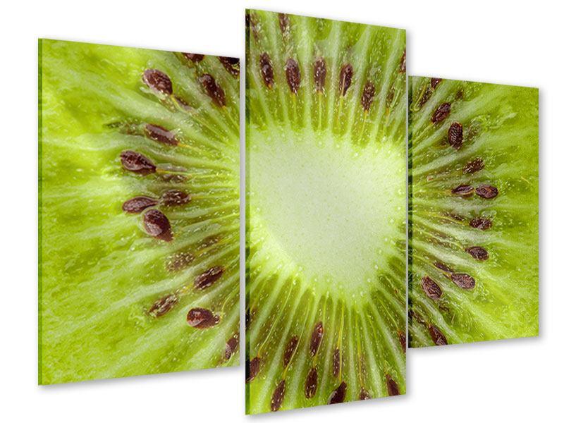Acrylglasbild 3-teilig modern Close Up Kiwi