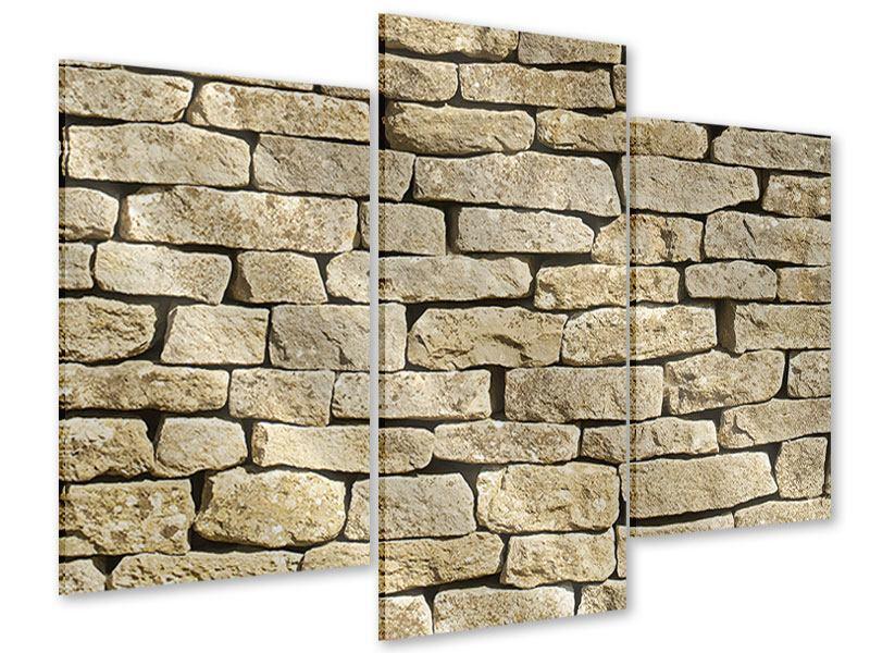 Acrylglasbild 3-teilig modern Alte Mauer