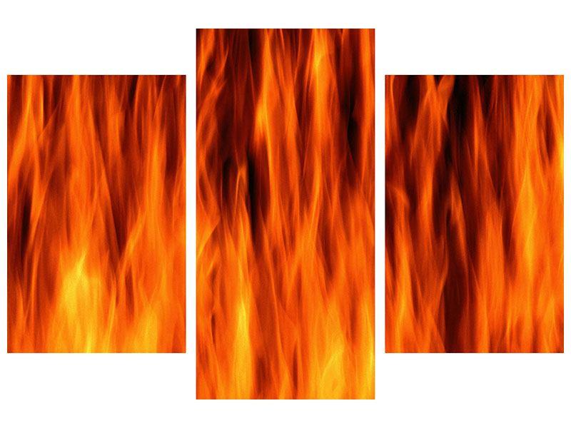 Acrylglasbild 3-teilig modern Feuer Close Up