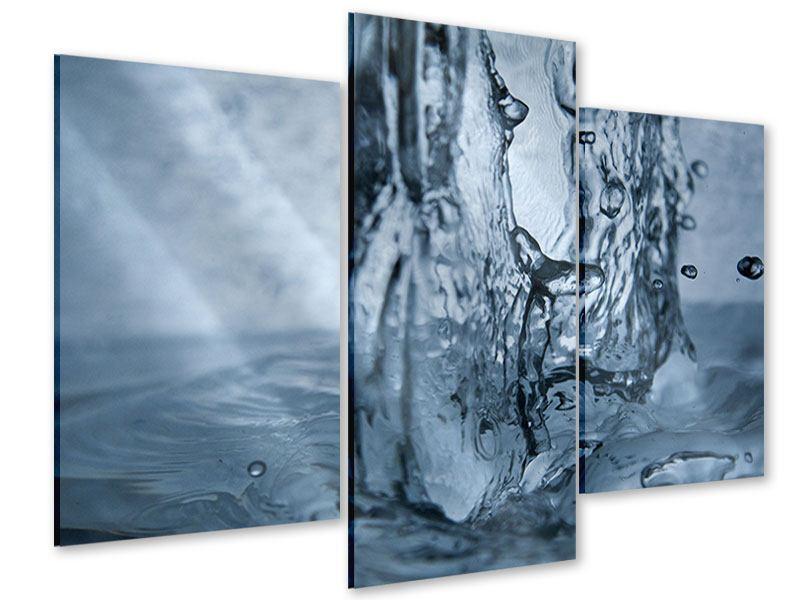 Acrylglasbild 3-teilig modern Wasserdynamik