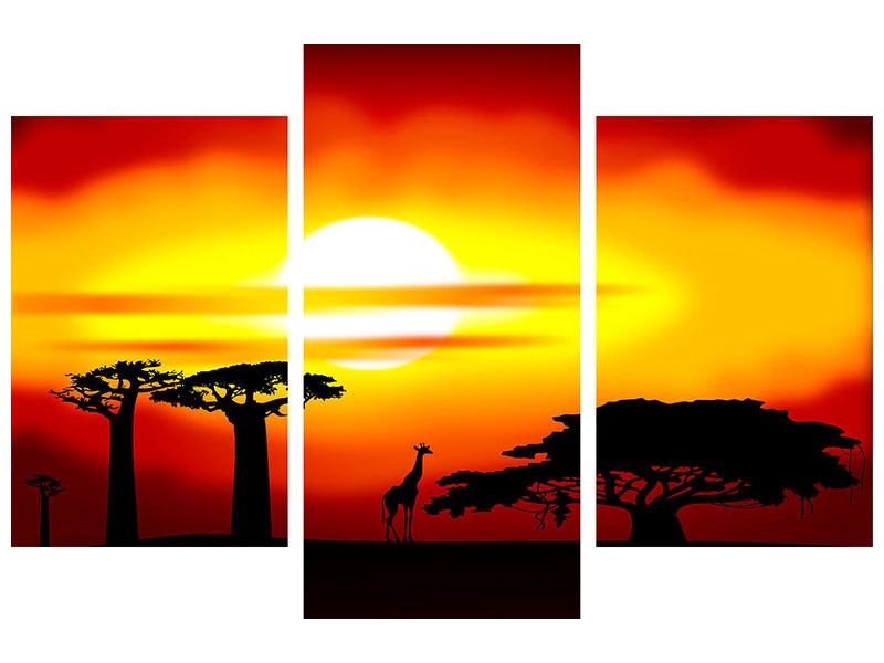 Acrylglasbild 3-teilig modern Faszination Afrika