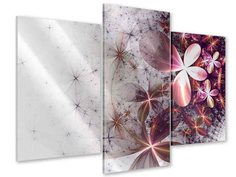 Acrylglasbild 3-teilig modern Abstrakte Blumen