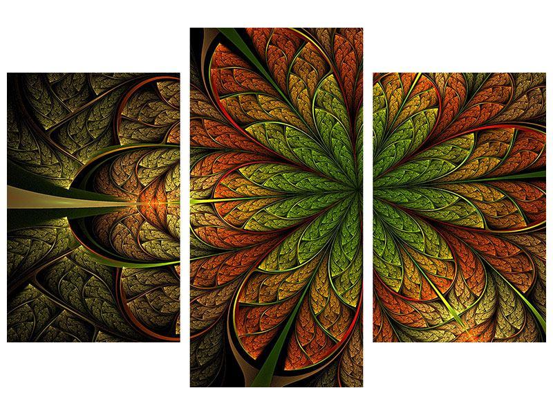 Acrylglasbild 3-teilig modern Abstraktes Blumenmuster