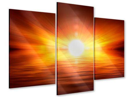Acrylglasbild 3-teilig modern Glühender Sonnenuntergang