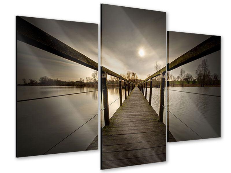 Acrylglasbild 3-teilig modern Die Holzbrücke
