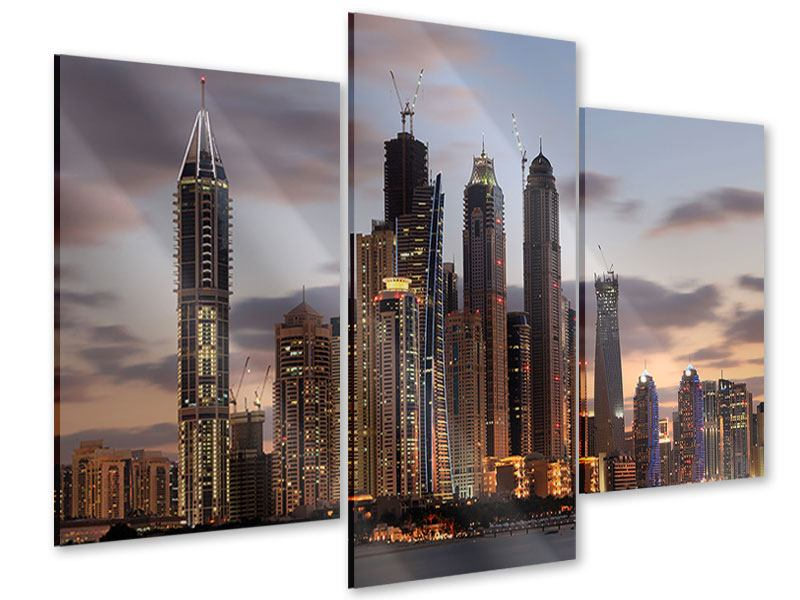 Acrylglasbild 3-teilig modern Skyline Dubai bei Sonnenuntergang