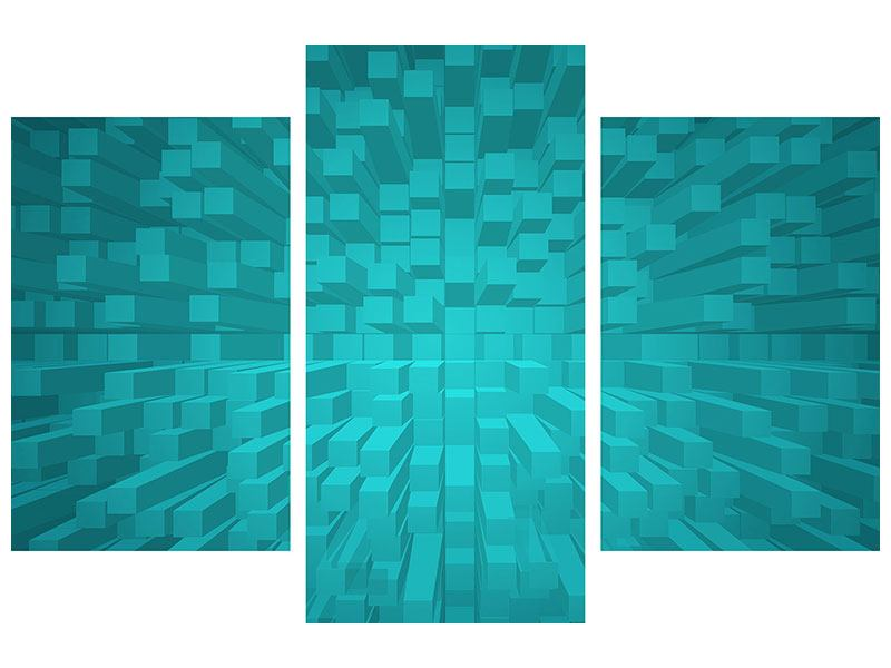 Acrylglasbild 3-teilig modern 3D-Kubusse